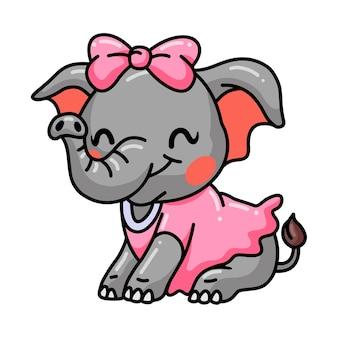귀여운 아기 소녀 코끼리 만화 앉아
