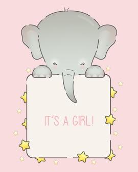 사랑스러운 코끼리와 귀여운 아기 소녀 프레임 템플릿