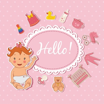 Cute baby girl hello card