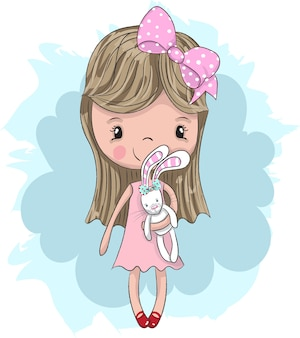Cute baby girl hugging cartoon rabbit hand drawn