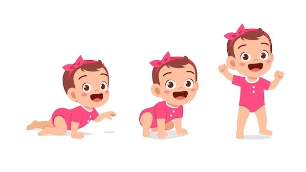 Милая девочка в наборе прогресса цикла роста