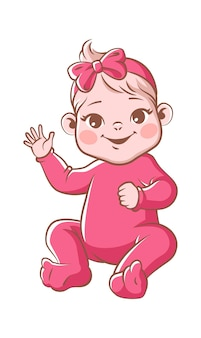 Cute baby girl. infant blond smiling toddler in pink clothes and ribbon sitting and waving hand. happy newborn child vector illustration isolated on white background
