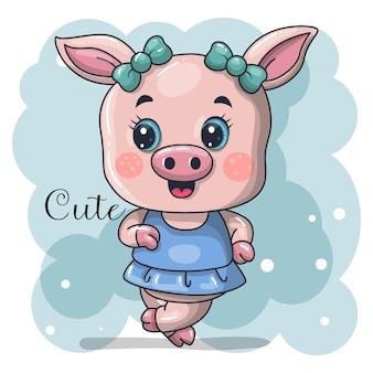 Cute baby girl pig cartoon   illustration