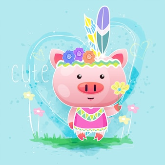 Cute baby girl pig with feather on the blue background