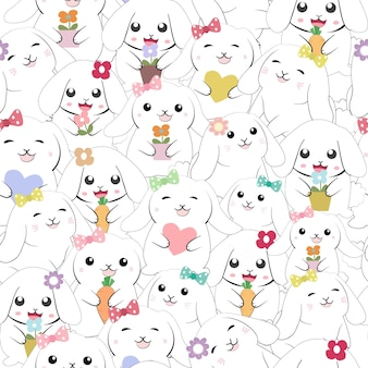 Cute baby girl rabbit bunny seamless pattern.