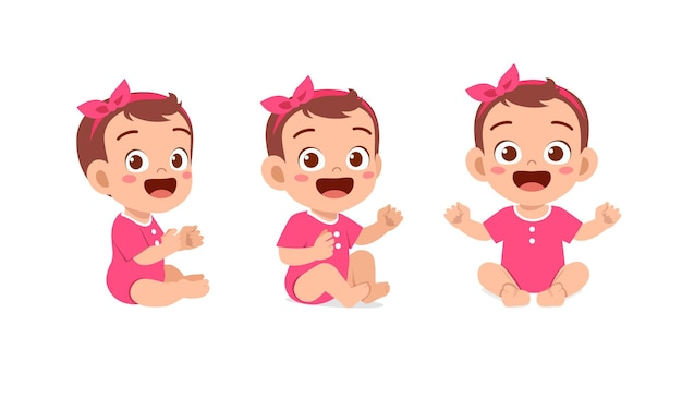 Cute baby girl sit down and smile pose set