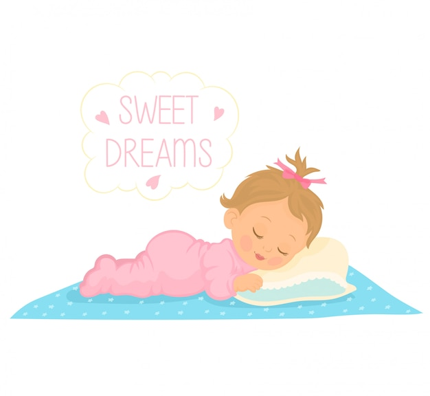 Cute Baby Girl Sleeping Premium Vector