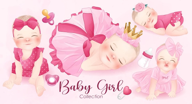Cute baby girl in watercolor style collection