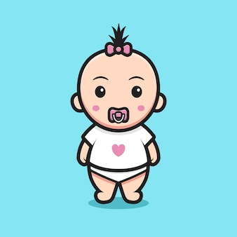 愛のtシャツを着ているかわいい女の赤ちゃん。青い背景に分離されたデザイン。