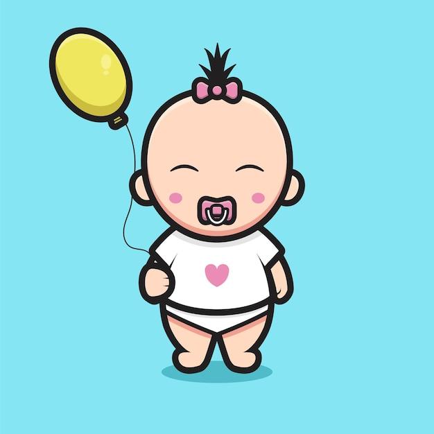 風船を保持している愛のtシャツを着ているかわいい女の赤ちゃん。青い背景に分離されたデザイン。