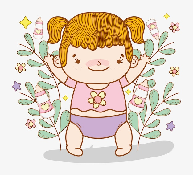 Cute baby girl with branches leaves and flowers