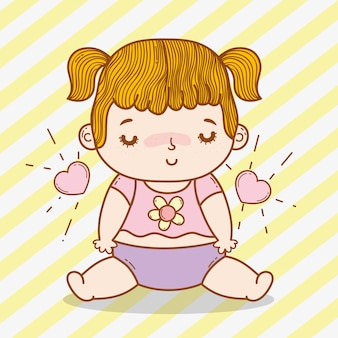 Cute baby girl with hearts and pigtails