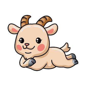 귀여운 아기 염소 만화 누워