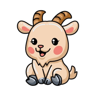 귀여운 아기 염소 만화 앉아