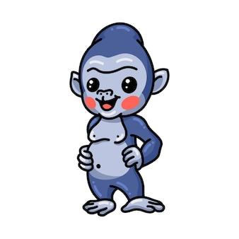 귀여운 아기 고릴라 만화 포즈