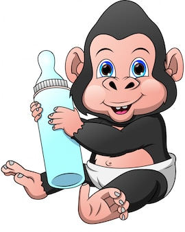 Cute baby gorilla cartoon