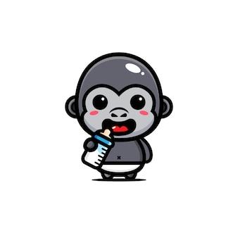 かわいい赤ちゃんゴリラのデザイン