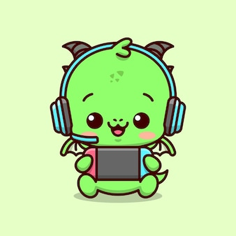 파란색 헤드폰을 착용하고 행복한 얼굴을 보여주는 귀여운 아기 녹색 드래곤 게이머