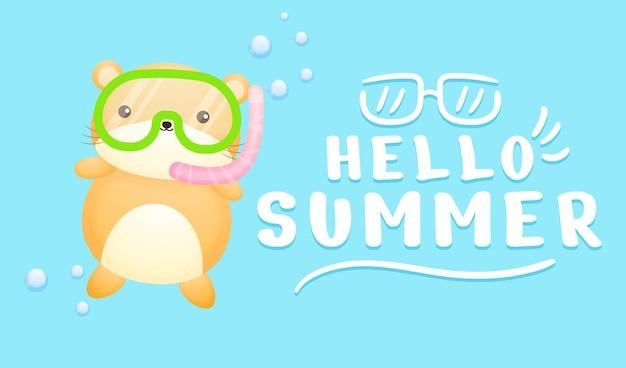 夏の挨拶バナーと水泳ゴーグルを身に着けているかわいい赤ちゃんハムスター