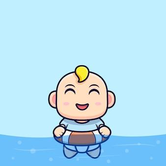 泳ぐのが幸せなかわいい赤ちゃん。フラットアイコン文字イラスト