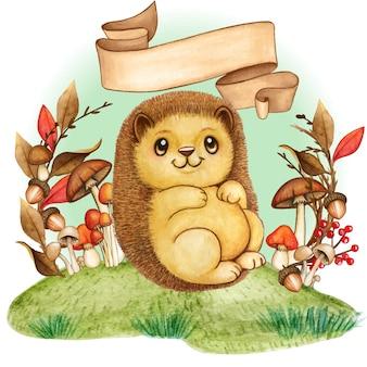 Милый маленький ежик в осенней листве обрамляет старинный свиток