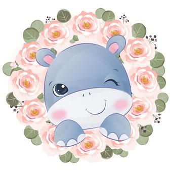 かわいい赤ちゃんカバと春の花のイラスト