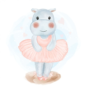 Cute baby hippo ballerina watercolor illustration