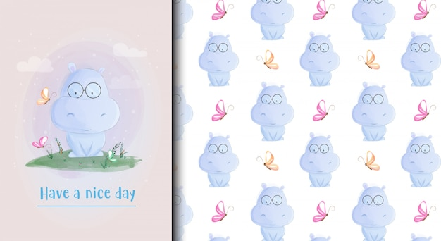 Cute baby hippo card and seamless pattern.