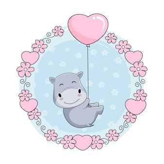Cute baby hippo cartoon fly with love balloon