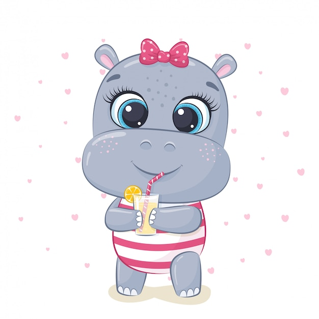 Cute baby hippo illustration.