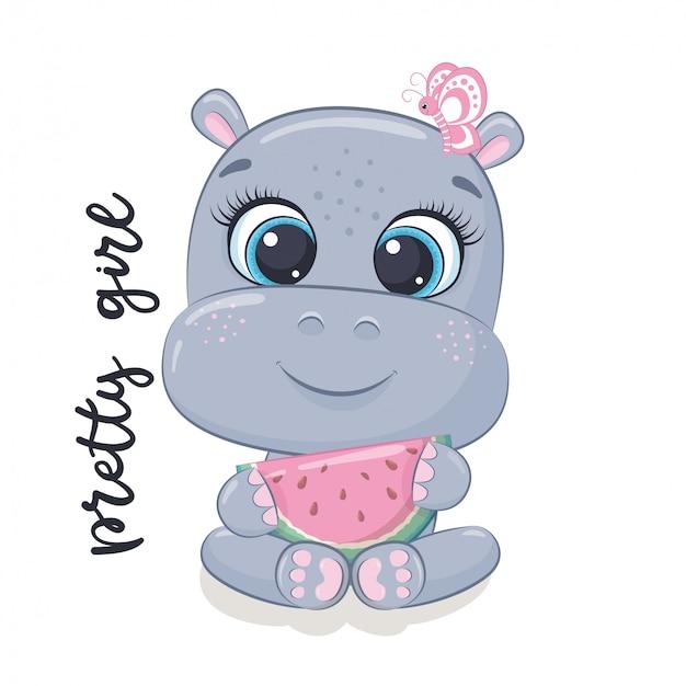 Cute baby hippo illustration.