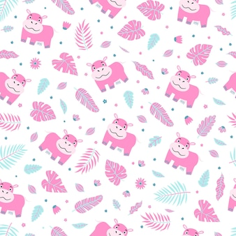 귀여운 아기 하마 패턴