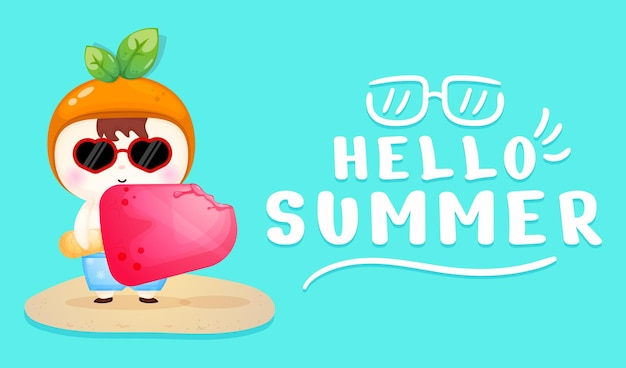 Cute baby holding big ice cream with summer greeting banner