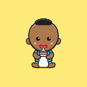 Cute baby holding milk bottle pacifier cartoon icon illustration. design isolated flat cartoon style