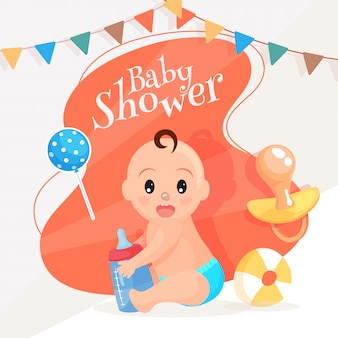 Cute baby holding milk bottle with balloon, pacifier and ball fo