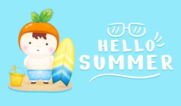 Cute baby holding surfboard with summer greeting banner