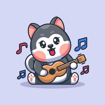 Cute baby husky dog playing guitar cartoon