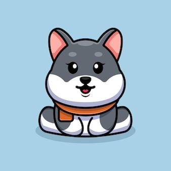 かわいい赤ちゃんハスキー犬座っている漫画イラスト