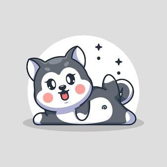 かわいい赤ちゃんハスキー犬のヨガのポーズ漫画