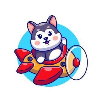 かわいい赤ちゃんハスキー運転飛行機漫画