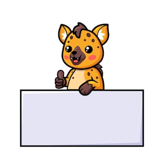 Cute baby hyena cartoon with blank sign and giving thumbs up