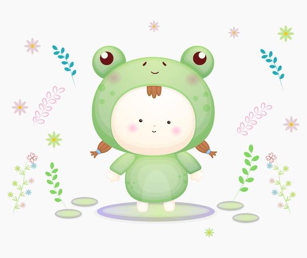 Милый ребенок в костюме лягушки. мультяшный талисман premium векторы