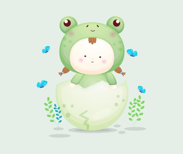 Милый ребенок в костюме лягушки с красочным яйцом. мультяшный талисман premium векторы