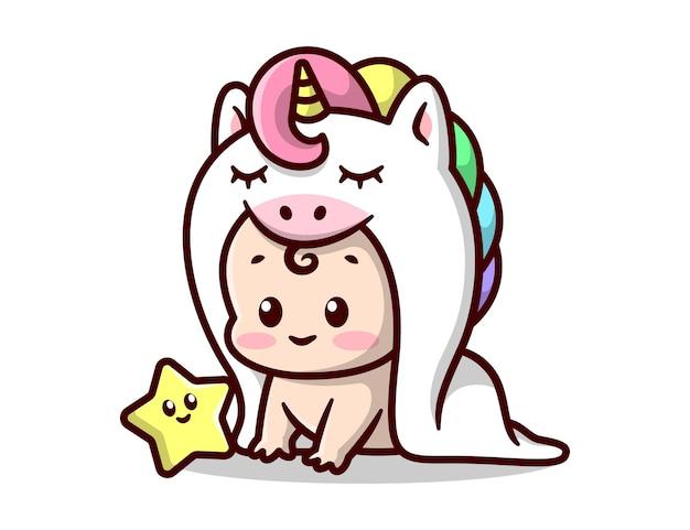 小さな星の漫画のイラストと白いユニコーンの衣装でかわいい赤ちゃん