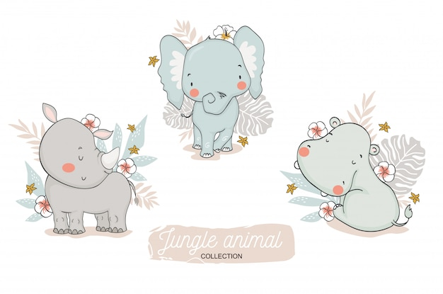 Cute baby jungle animals collection. cartoon elephant, rhino, hippo safari characters