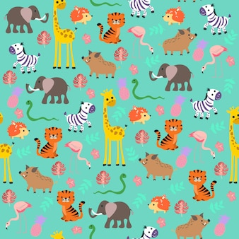 Cute baby jungle  pattern