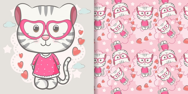 Cute baby kitten cartoon with seamless pattern