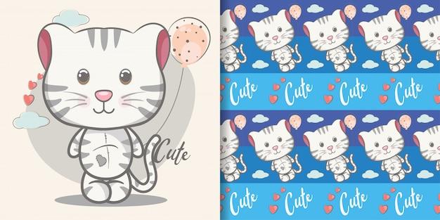 Cute baby kitten cartoon with seamless pattern