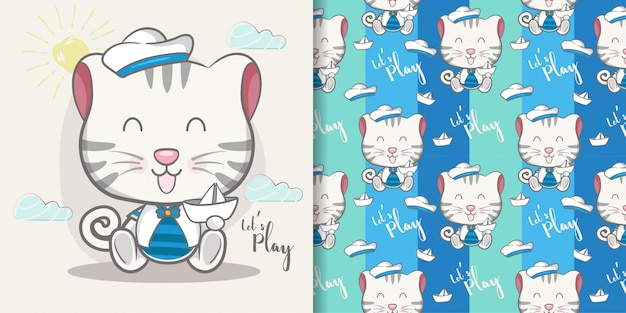 Cute baby kitten greeting card with pattern set