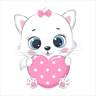 Cute baby kitty with a heart. cartoon vector illustration.